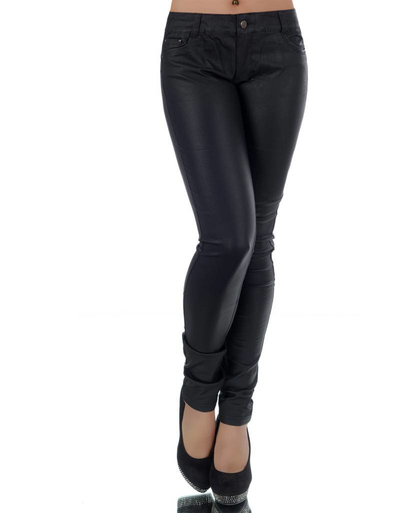 Zwarte coated jeans broek