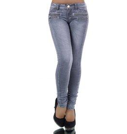 Jeans grijs met leuke ritsjes
