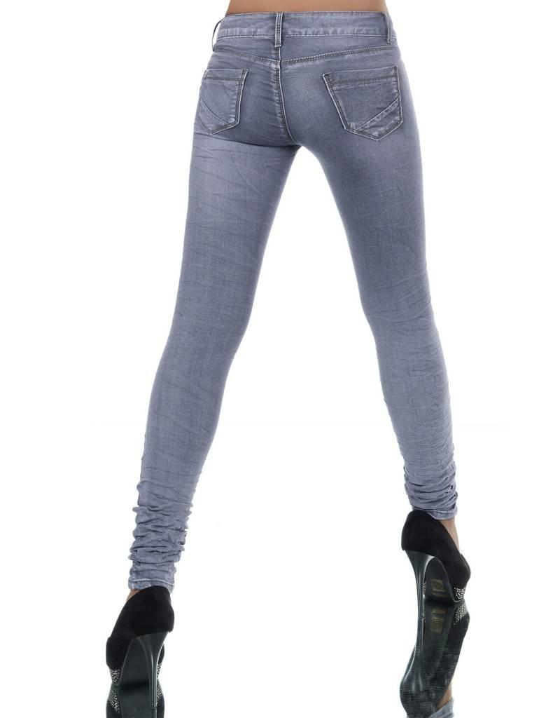 Jeans grijs met leuke ritjes