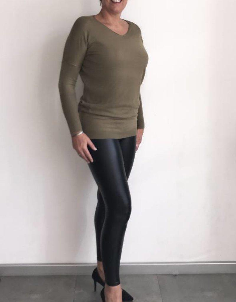 Trui khaki met lange mouw