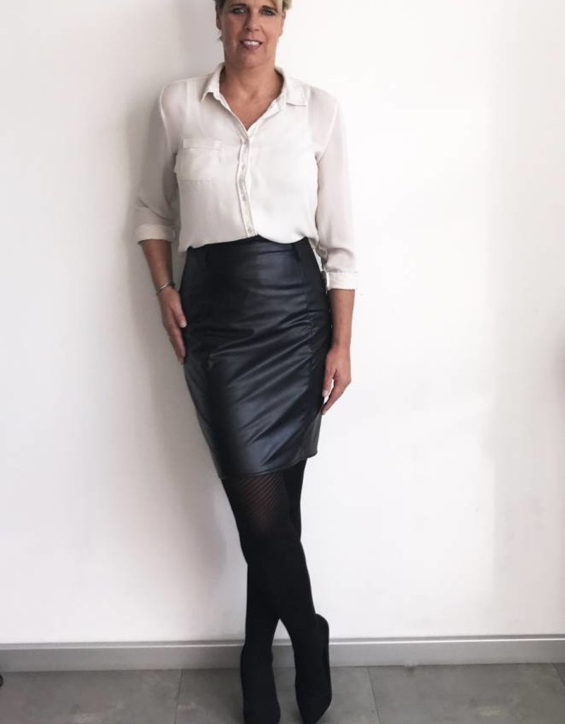Rok zwart leatherlook
