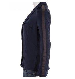 Blazer donkerblauw met grijze contrastbies