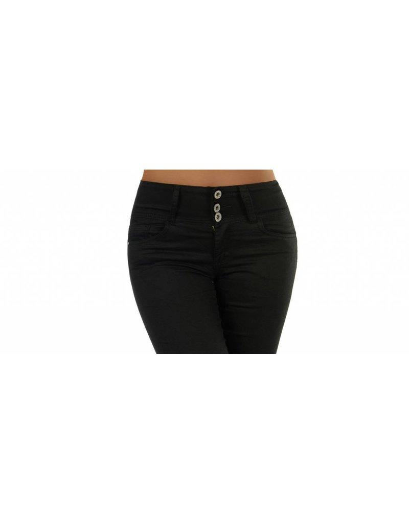 Jeans zwart met 3-knoopssluiting