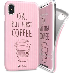 i-Paint soft case Coffee mug - roze - voor iPhone X