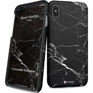 i-Paint cover marble - zwart - voor iPhone X