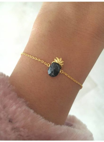 Fashion-Click Armband Black Marble Pineapple