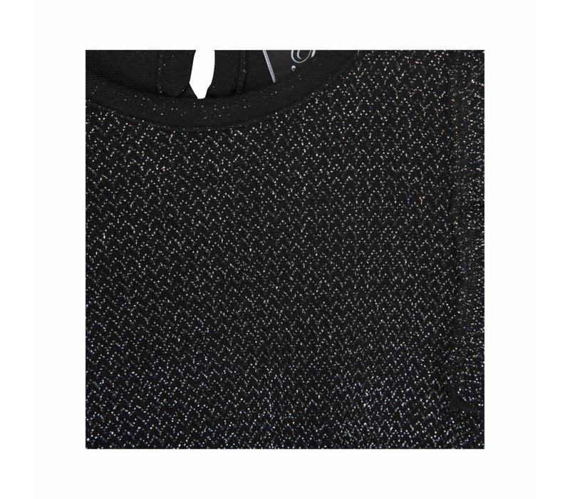 Petit by Sofie Schnoor glitterjurk zwart/zilver