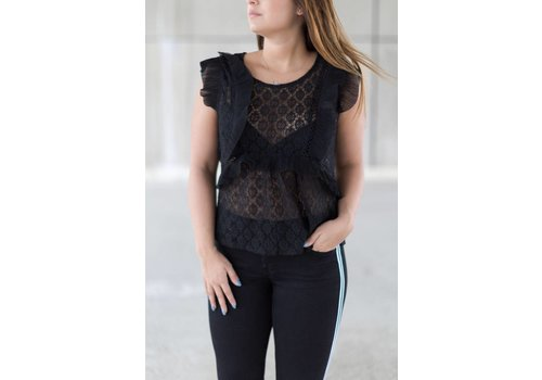 ANDY & LUCY LACE BLOUSE FERAGNI - BLACK