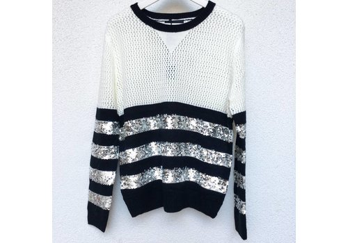 WHITE MAXINE PULL - SEQUINS - SILVER
