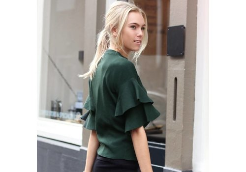 GREEN RUFFLE TOP - ONE SIZE