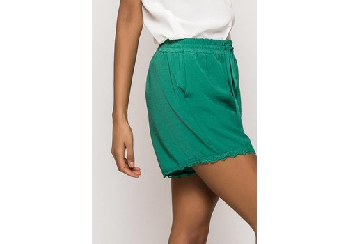 GREEN LACED UP SHORT