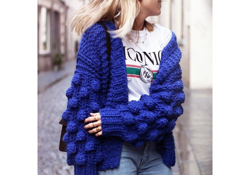 KNITTED CARDIGAN - BLUE - ONE SIZE