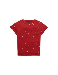 Allover Printed Tee red