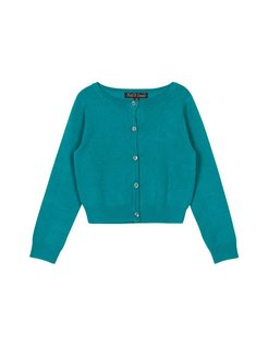 Cardi Roundneck Droplet turquoise