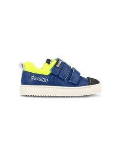 Boys Low Cut 3 Velcro Blauw Geel Klittenband