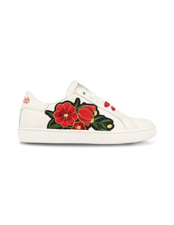 Girls Low Cut Sneakers Flower Wit