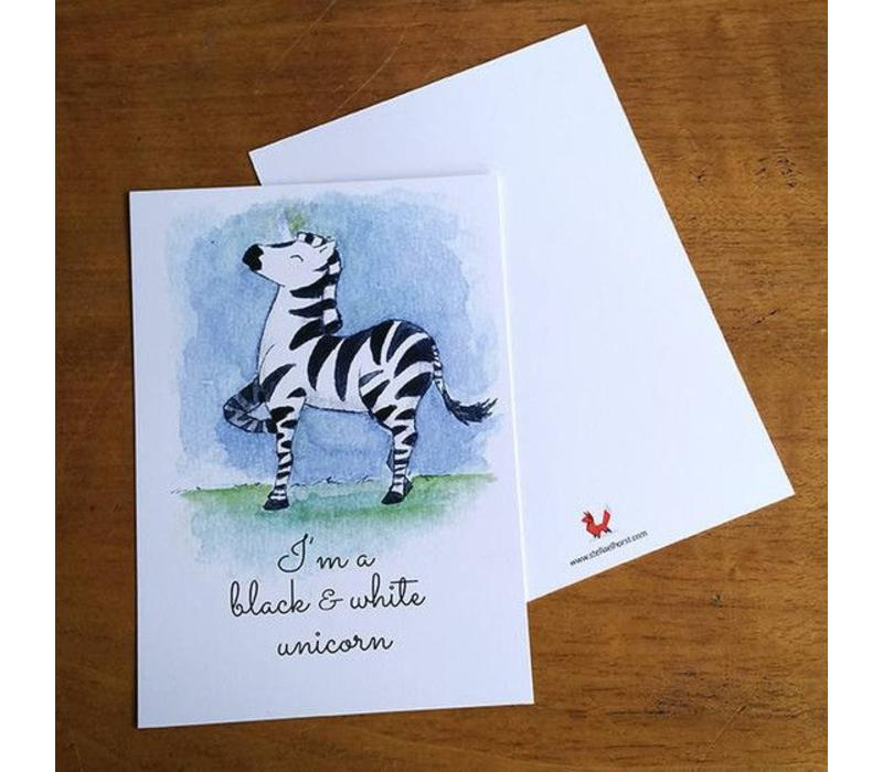 Postcard Black & White Unicorn