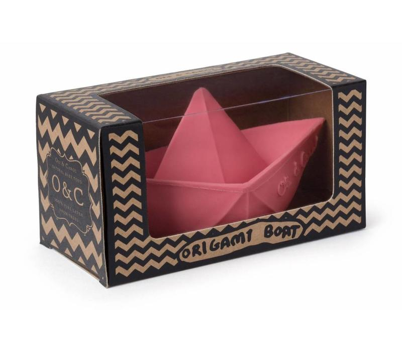 Oli & Carol natuurrubber origamibootje roze