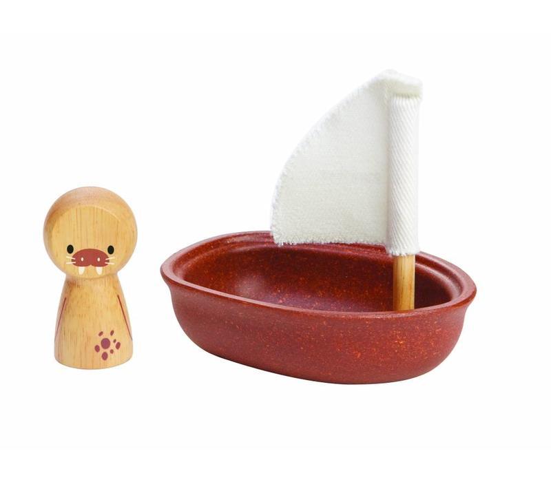Plan Toys zeilboot met walrus