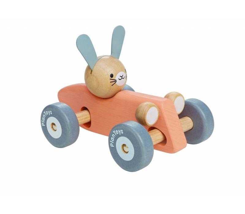 Racewagen konijn (pastel)
