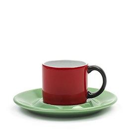Keukengerei SERAX ESPRESSOMUG + SAUCER RED/GREEN
