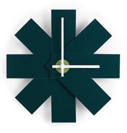 klokken WATCH ME WALL CLOCK PETROL GREEN