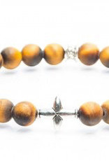 Juwelen CROSS 8MM MAT TIGER EYE M