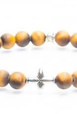 Juwelen CROSS 8MM MAT TIGER EYE S