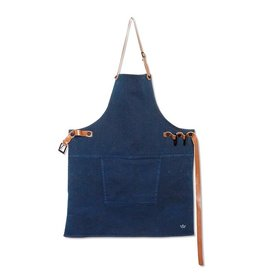 Keukengerei BBQ-STYLE APRONS / CANVAS + LEATHER STRAPS / DARK BLUE