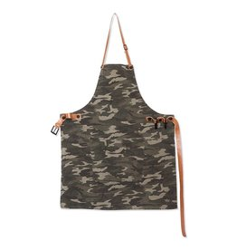 Keukengerei BBQ-STYLE APRONS / CANVAS + LEATHER STRAPS / ARMY GREEN