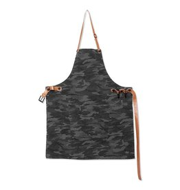 Keukengerei BBQ-STYLE APRONS / CANVAS + LEATHER STRAPS / ARMY BLACK