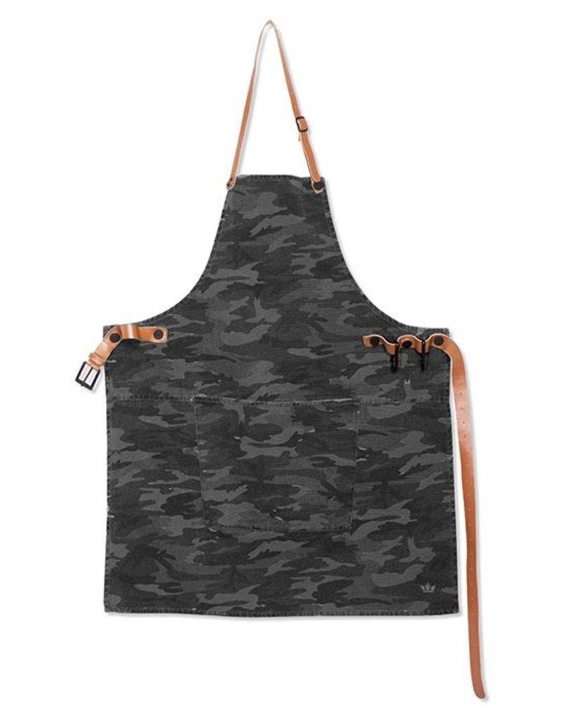 Keukengerei BBQ-STYLE APRONS / CANVAS + LEATHER STRAPS / ARMY BLACK