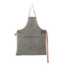 Keukengerei BBQ-STYLE APRONS / CANVAS + LEATHER STRAPS / GREY-GREEN