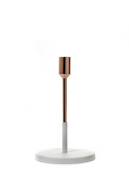 kaarshouders CANDLE HOLDER SMALL D12 H19 COPPER/WHITE