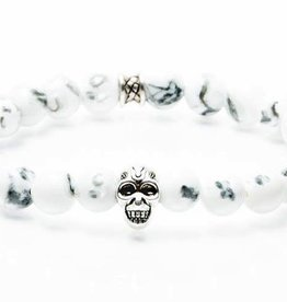 Juwelen GEMINI SKULL 8MM WHITE MEDIUM