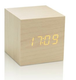 Wekkers CUBE MAPLE CLICK CLOCK