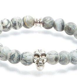 Juwelen GEMINI SKULLY 8MM MAT GREY S