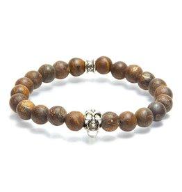 Juwelen GEMINI SKULLY 8MM MAT BROWN S