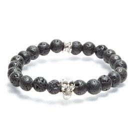 Juwelen Skull 8MM BLACK LAVA S