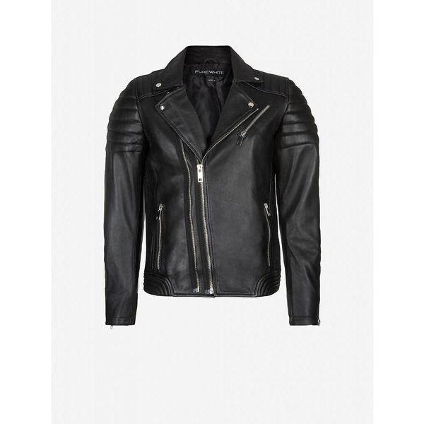 Purewhite Leather Jacket Black 18010408