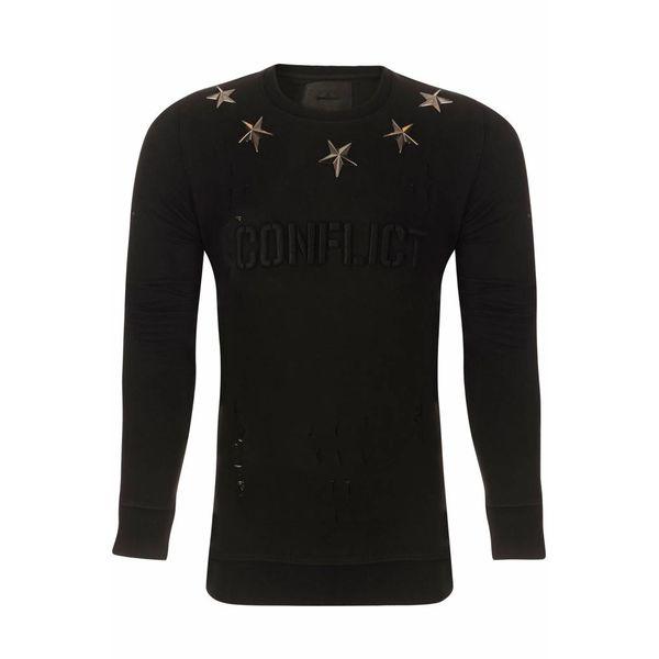 Conflict Metal Stars Black Sweater
