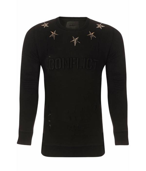 Conflict Conflict Metal Stars Black Sweater