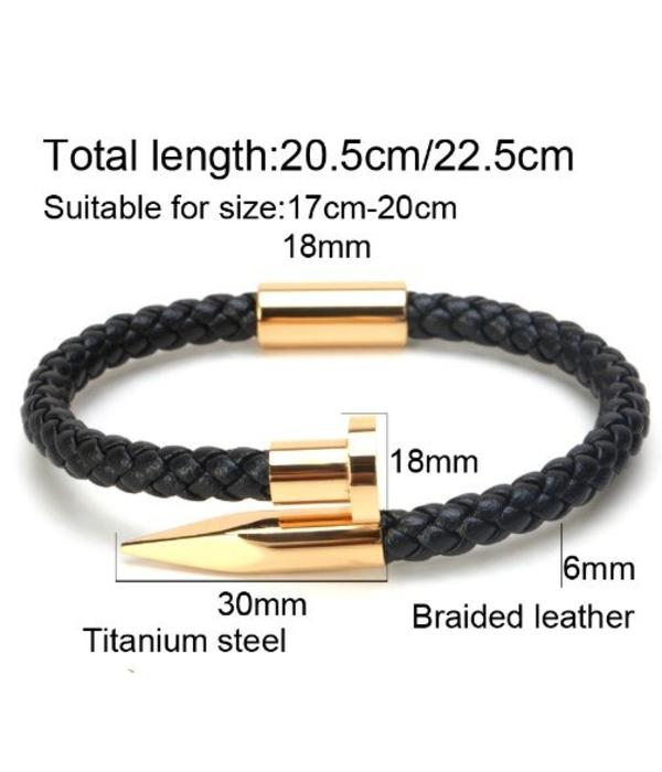 LXRY JEWELS Lederen Nail Armband 6mm Weave Gold