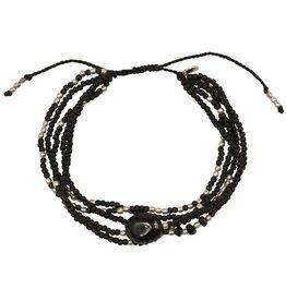 A Beautiful Story Blossom Black Onyx Armband - Zilver