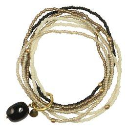 A Beautiful Story Nirmala Black Onyx Mix Armband - Goud