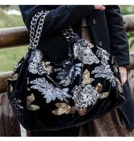 Alex-Max Handbag - Glamour Flowers Black/Gold