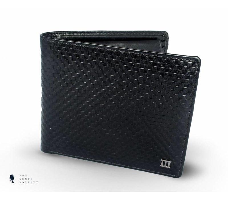 zwart lederen portemonnee met grafische print