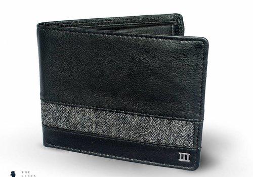 Tresanti zwart lederen portemonnee met stoffen band