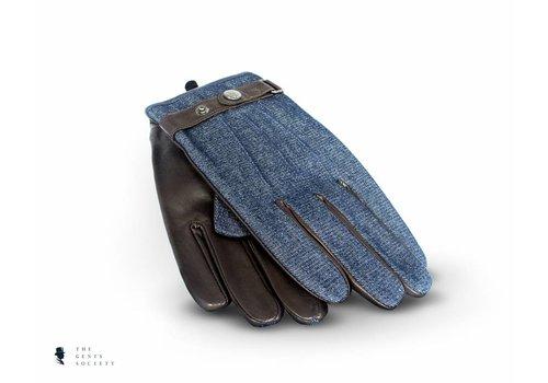 Tresanti bruin lederen handschoenen met denim stof