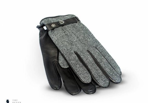 Tresanti zwart lederen handschoenen met stof